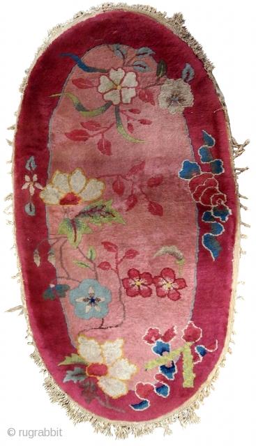 Handmade antique Art Deco Chinese rug 2' x 4.1' ( 61cm x 125cm ) 1930s - 1B567
