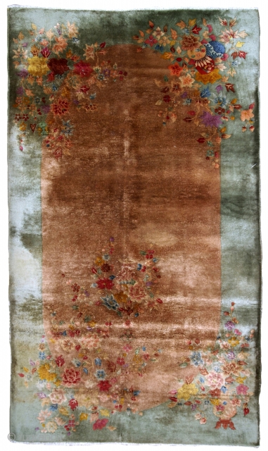 Handmade antique Art Deco Chinese rug 6.9' x 4' ( 210cm x 122cm ) 1920 - 1B573