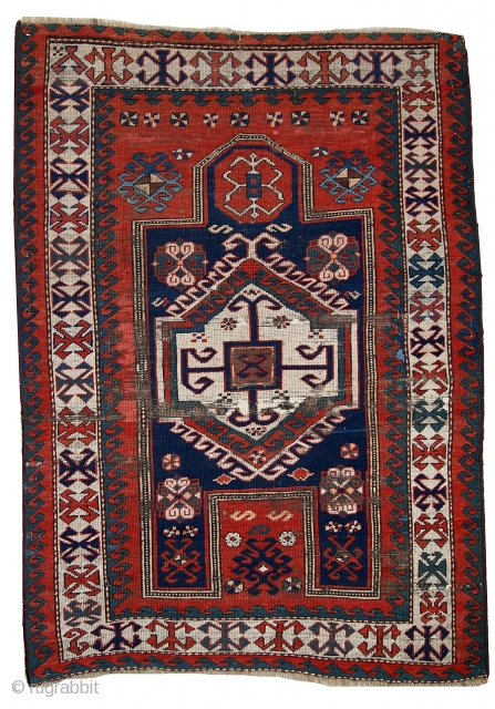#1C427  Hand made antique Caucasian Kazak prayer rug 3.8' x 5.2' (116cm x 160cm) C.1900s