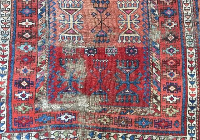 Anatolian kurdish rug fragment,110 x 100 cm