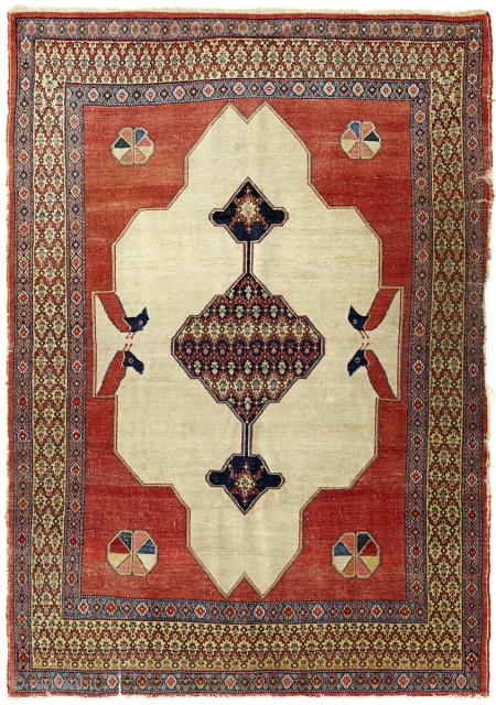 ca 1900 Senneh rug with interesting animal motifs. Even wear and damages as shown on the picture. 