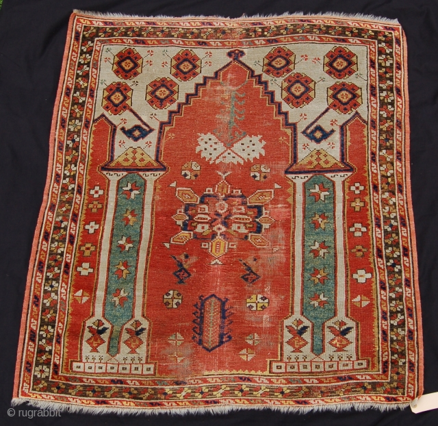 18th Century West Anatolian Prayer Rug 115 X 105cm