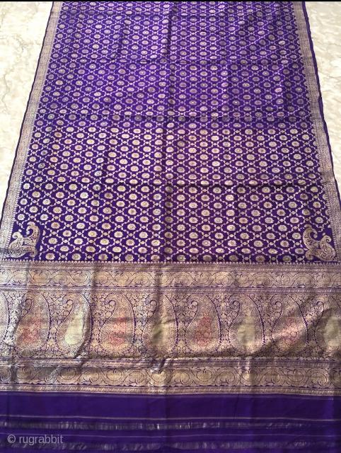 Vintage butti jongla (design name)pitambari sari from Varanasi Uttar Pradesh India c . 1900 made of  real zari( silver treads )for the royal family's.the size of the sari is 110cms x  ...
