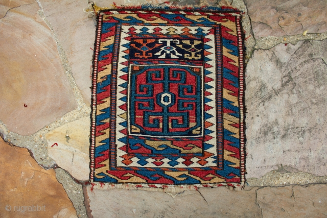 An interesting shahsavan bagface with zoomorphic characters, highly saturated colors, and great border with lots of movement. It measures 1.3 x1.6 ft in size and is in overall excellent condition.      ...