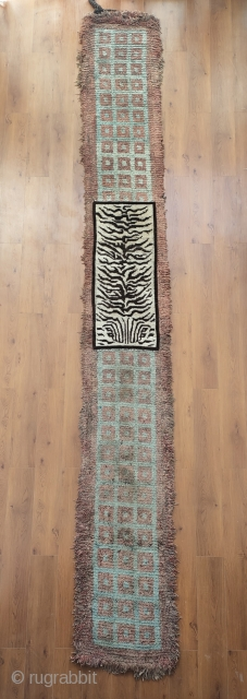 very old tibetan monastic bench cover, wrap faced back or wangden...3x 33 squares one swastika 540cm.. huge size, early and beautiful!