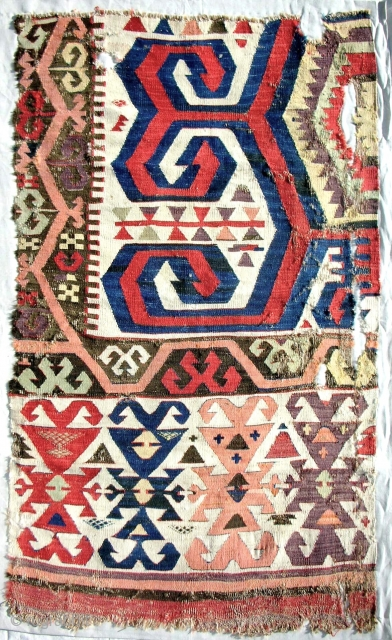 18th c. central Anatolian kilim fragment. Professionally conserved and mounted on linen. Bold drawing and best color!