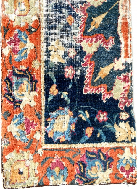 Early 17th c. Persian Safavid rug fragment. Good pile. Fantastic color and drawing. Certainly museum quality.