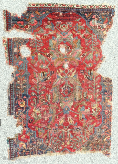 Very early Persian Bijar rug. Dated 1820. About 4.5 x 6.5 ft.