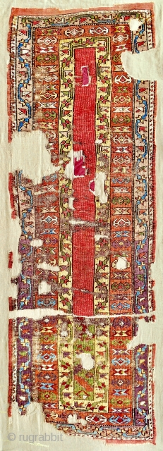 Magnificent 18th century Konya long rug with exquisite color. Cleaned, conserved and mounted on linen. New to the market.