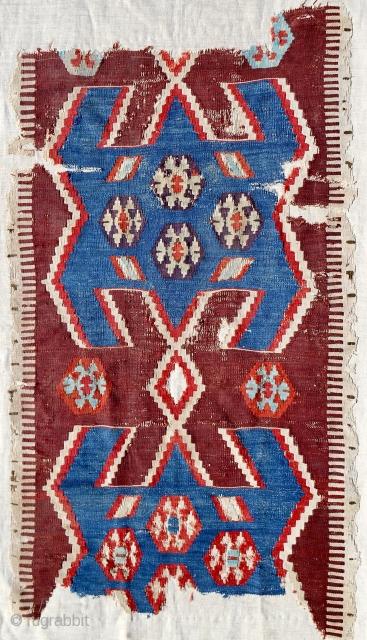 "Transcendent 18th c. Anatolian Obruk kilim fragment (26""x 42""). Conserved & mounted on linen."