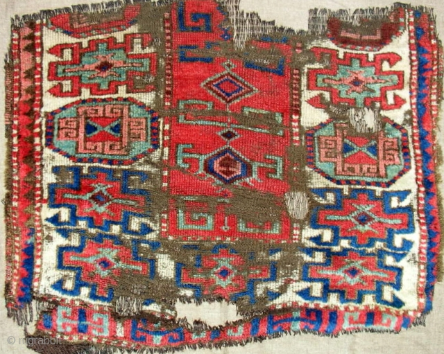 Another 18th c. Anatolian Rug fragment with good pile. Expertly mounted on linen.