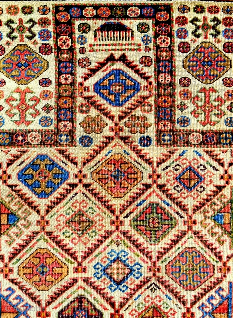 Akstafa prayer rug. 1840-60. Good condition. Vast color range.