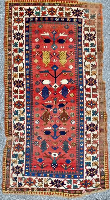 Very rare Moghan Caucasian rug. Circa 1850-70.