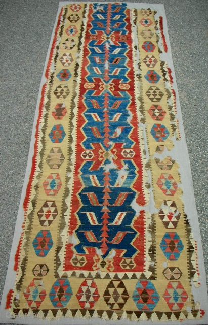 Exceptional 18th c. One piece Obruk kilim fragment. Almost complete. Professionally conserved and mounted on natural linen. One of the best!
