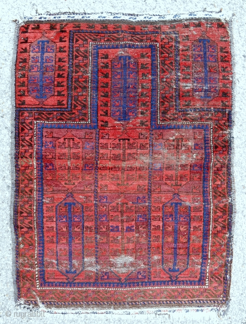 Another distinctive and attractive small Timuri? prayer rug with some age. c. 1880.