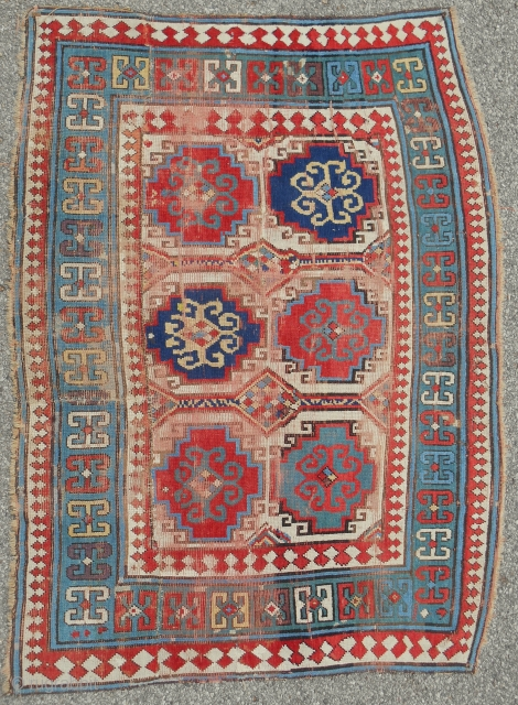 Reduced Caucasian Kazak rug fragment with some interesting features. Works well in this format. About 4 x 6 ft. Good drawing, circa 1870.