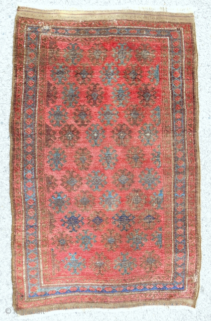 Cool Khorassan baluch rug in good condition with brown corrosion. C. 1870.
