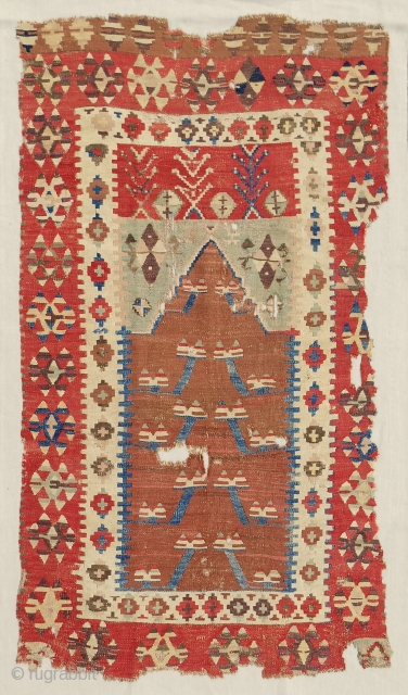 Exceptional Anatolian Obruk prayer kilim. c. 1800. Conserved & mounted on linen to the highest standard. Sublime old color! Fine. As good as they get!