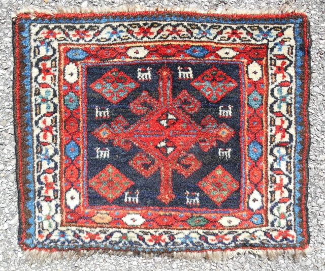 """Exceptional Persian Veramin bagface (19""""x 15"""") with animals! Very fine weave. Best quality lustrous wool and saturated natural dyes. Perfect condition. Late 19th c."""
