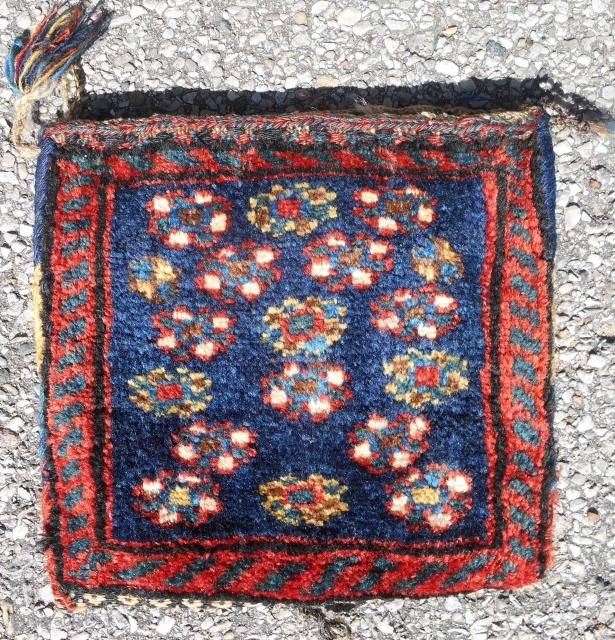 """Complete Southwest Persian pile chanteh (11""""x 10.5"""") with tassles. In excellent, full pile, condition. Fancy, kilim back. Late 19th c."""