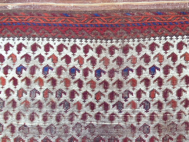 """Rare white ground """"square"""" Baluch Rug with a million boteh. Thin and fine weave. Circa 1870-80."""