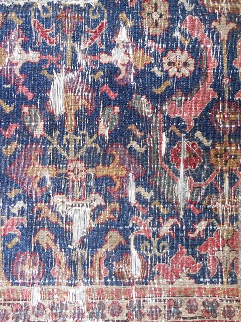 "Ex. Jon Thompson 17th c. Northwest Persian carpet fragment. (29"" x 42"")."