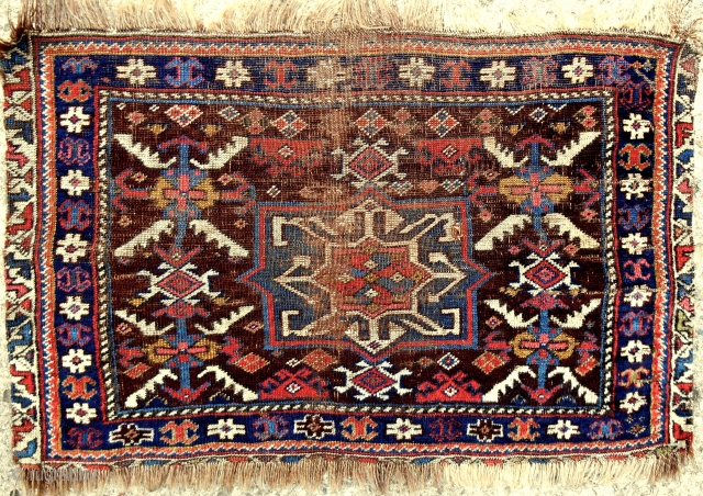 Early North Azerbaijan bagface. Fine and thin like a cloth. Rare aubergine field color. See Rothberg's great new book, Nomadic Visions, plate 64.