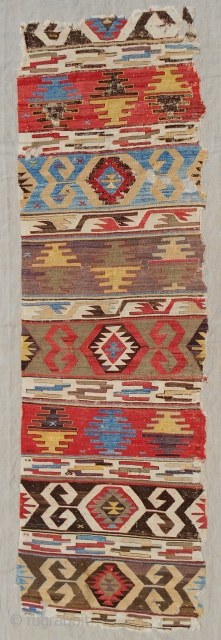 """Early 19th c. Central Anatolian """"banded"""" kilim panel fragment. Excellent color range. Fine weave.  Conserved & mounted professionally on linen."""