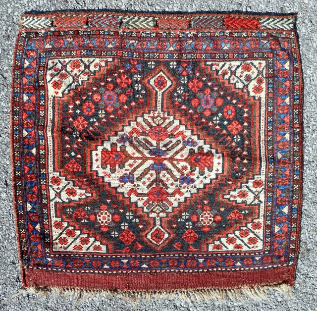 """Classic Persian Khamseh design bagface (27""""x 26"""") with characteristic silky wool and deeply saturated color. Very good condition, all original. Circa 1880-90."""