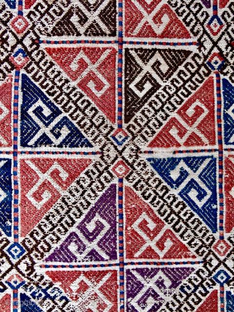 "Fantastic Azerbaijani cicim mafrash end panel. (17"" x 20""). 19th c. Never seen another."