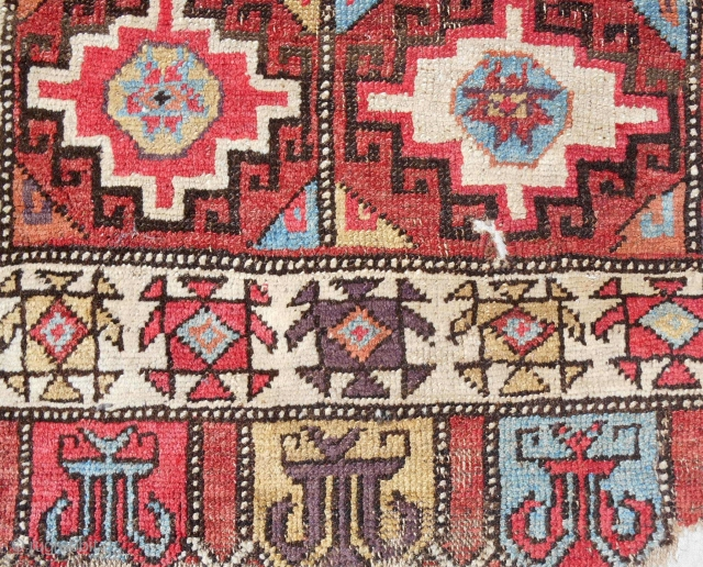 """18th c. Rare """"small"""" format Konya Cappadocia rug. Size is 45"""" x 93"""". Sourced in Turkey, cleaned and exquisitely mounted on linen."""