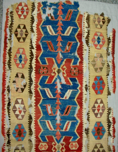 Great Anatolian Obruk 1-piece, nearly complete kilim (detail). 18th c. or older. Conserved and expertly mounted on linen. One of the best!