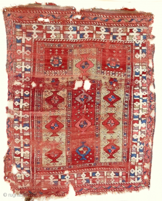 18th c. West Anatolian prayer rug (4x5ft). Very rare type. Only seen one other in Vakiflar museum. Excellent wool quailty and color.