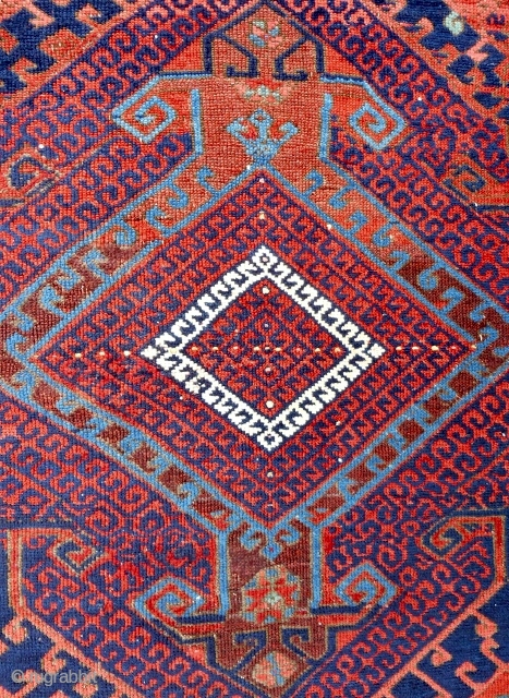 """West Anatolian """"Yuncu"""" small rug (40""""x 55"""") Detail. Circa 1850. Good condition. Perhaps best of type."""