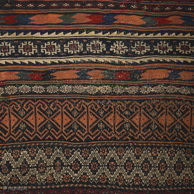 """""""There is geometry in the humming of the strings, there is music in the spacing of the spheres."""" Pythagoras Baluch kilim, 19th century. Nearly perfect condition with original sides & ends. Great range  ..."""