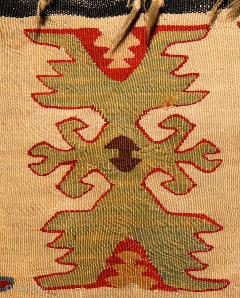 Sarköy Kilim, 19th cent, 137x207 Paper thin weaving: 7 weft-yarn on 1 cm! Some little damage here&there, but nothing serious.  Both end is fixed with a dark-blue ribbon. more pieces: http://rugrabbit.com/profile/5160
