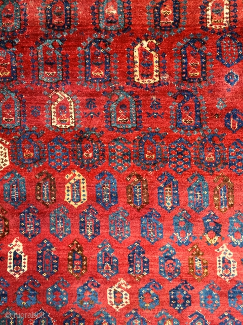 Rythm, fantasy and cheerfulness from the mid 19th century. Pre-comemrcial Beshir tribal rug in mostly full, soft, shiny pile. Saturated, vivid, bright, lightning organic dyes ... vibrating in the flesh. A precommercial  ...