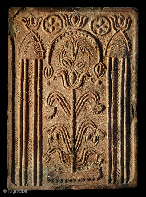 1700's (or earlier?) stove tile from Transylvania, Kalotaszeg region.  In one hand a beautiful and ultra rare example of the Ottoman period's artistic influences in Transylvania. It shows the exact layout of the  ...