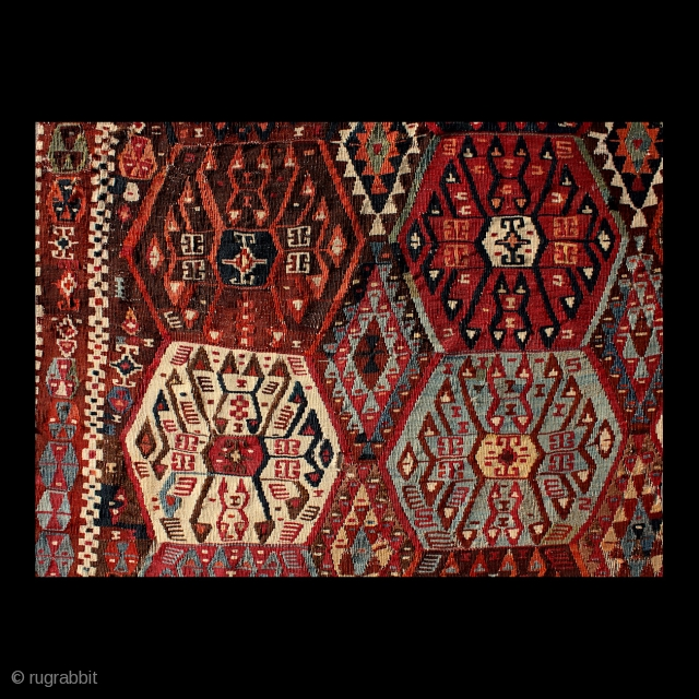 """""""The artist is concerned not with a single focal point but with the unfolding of many layers of movement within a fluid language of images."""" Una Johnson Kagizman kilim, East Anatolia, 19th  ..."""