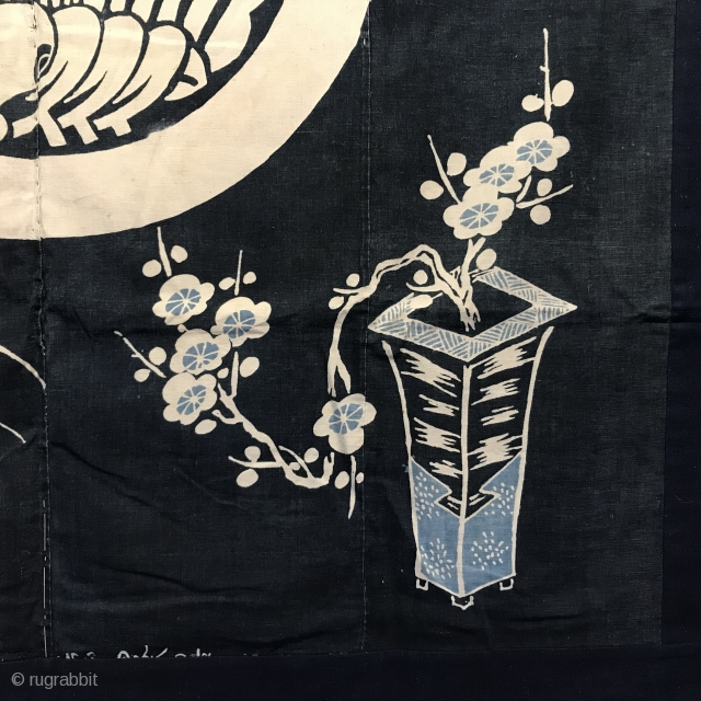 Japanese Futon cover, probably late 19th century, made from hand woven cotton and dyed with indigo using resist dyeing technique; in the centre is a family crest of a butterfly surrounded by  ...