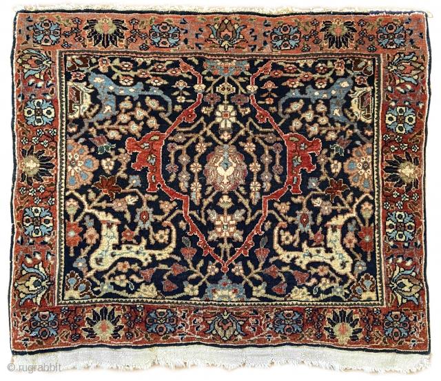 "To be offered next week, a rare c. 1900 Bidjar mat, ex. John Collins, from the estate of a Newburyport, Massachusetts collector.  Cotton foundation, mint condition. 2' x 1'6"".  Go  ..."