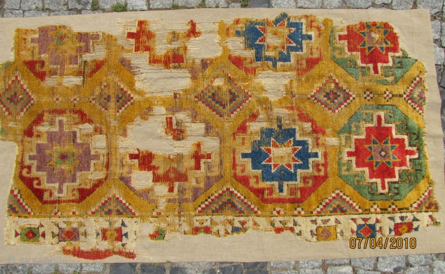 Central Anatolian rug fragment C. 1800. Approximately 94x177cms. Museum quality mounting.