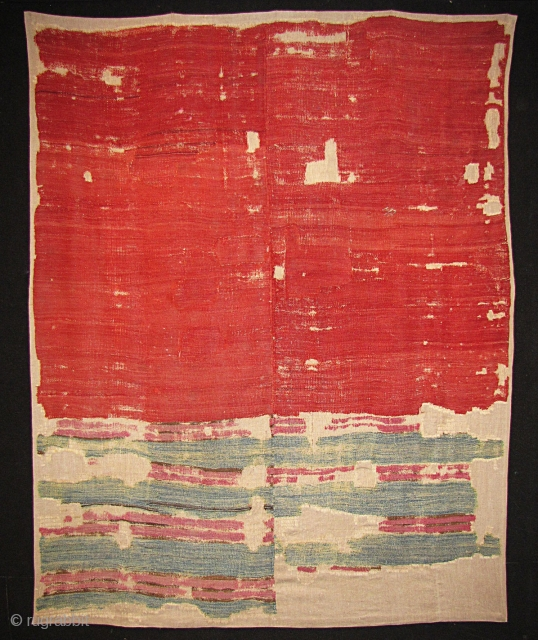 "Rothko-esque Sivas kilim fragment. 18th century. Approximately 5'6""x 6'6"". Several patches in field from the same piece. Mounted."