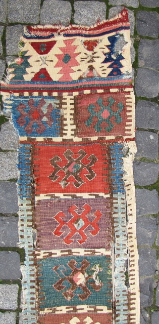 """Early Hotamis kilim border fragment. 7'5""""x1'3"""" (230x37cms.) Note the vestigial traces of the Turkoman design pool."""
