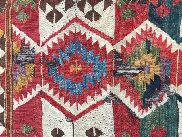 Mut kilim. 19th century. Probably one of two panels. 255 x104 cms.