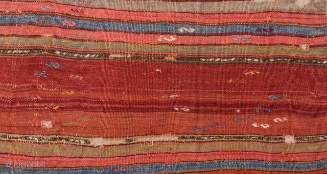 Very sweet, old, utilitarian weaving that glows like the sun of Anatolia. 19th century, but how far back I don't know. I think it is complete and in its, more or less,  ...