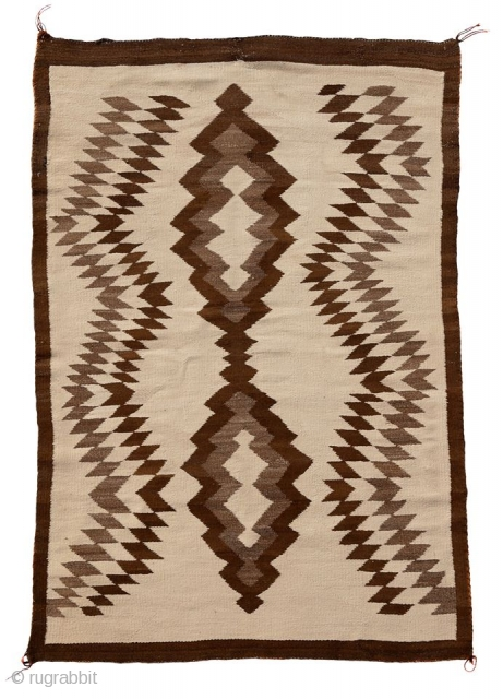 "Late 19th or early 20th century Two Grey Hills Native American Navajo throw (possibly a transitional period artifact) in a very good condition. Size: 65"" X 45"" 165x114cm)