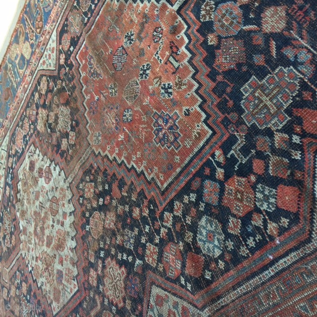 Qashqai Shiraz Rug: 1880's QASHQAI 6x9 Rug: Also Known As Shiraz Rug, This