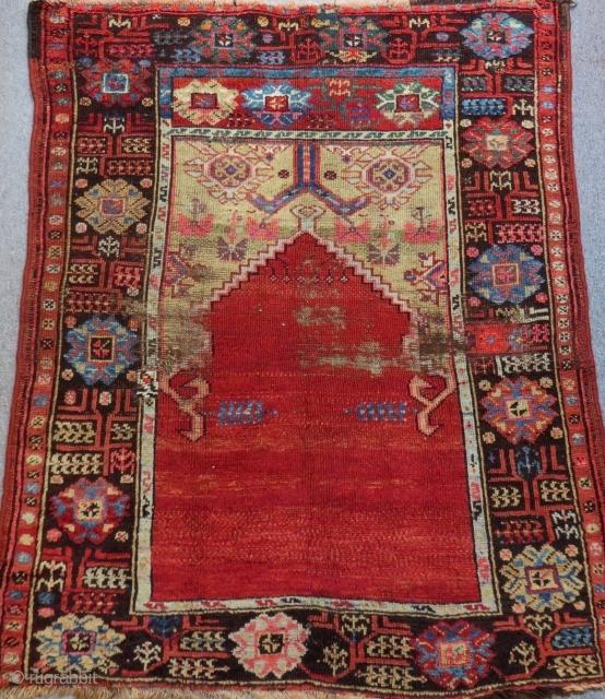 Second 19th Century Central Anatolian Karaman Prayer Rug Size.128x105 Cm