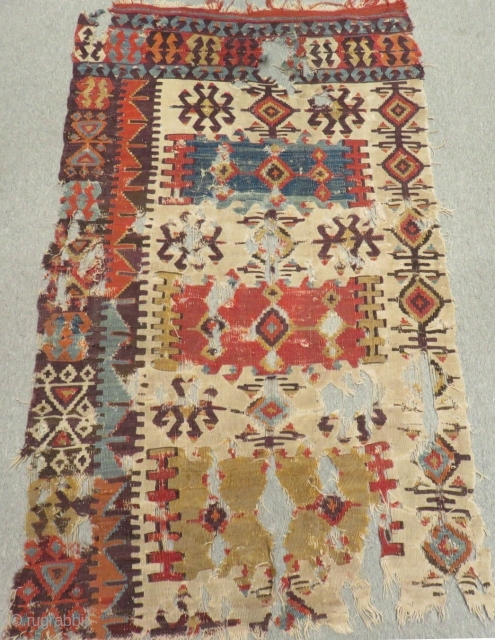 Mid 18th C Central Anatolian fragment Kilim Size.170x96 Cm